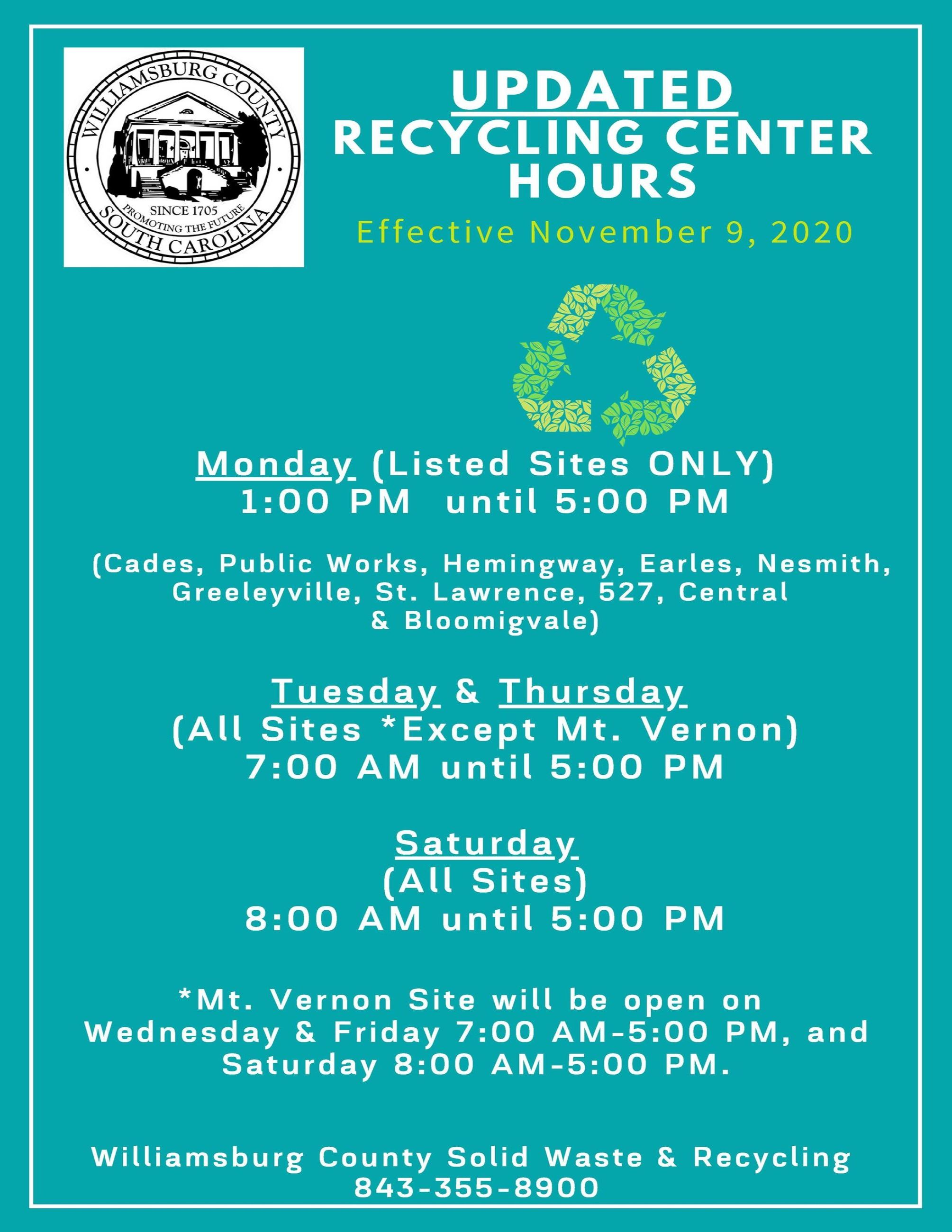 DSTime Recycling Center Hours Updated 10 30 2020