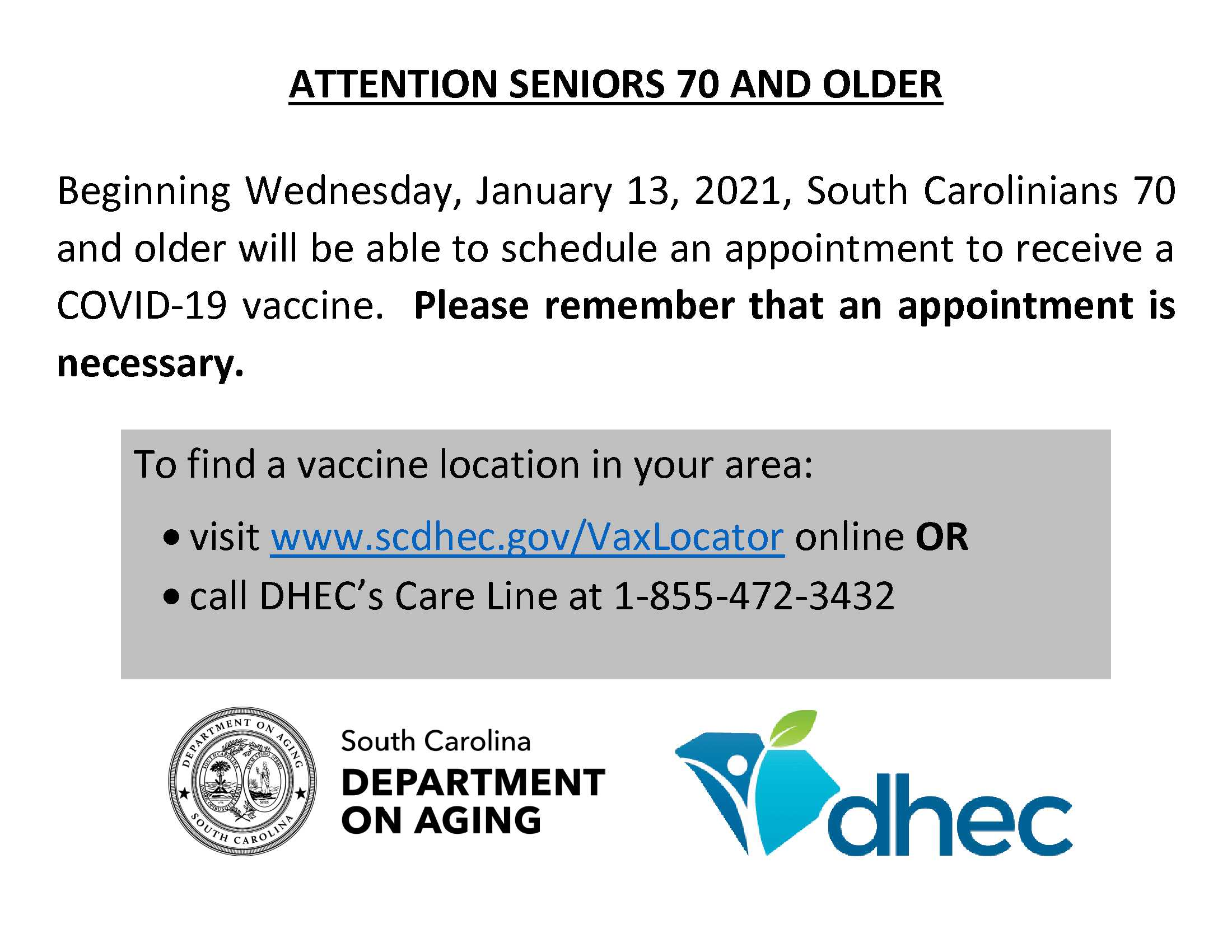 Seniors 70 plus Vaccine Flyer